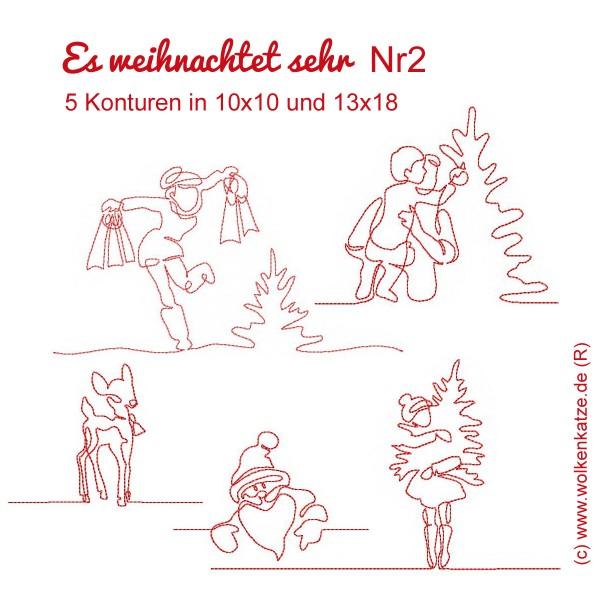 Stickdateien Set Es weihnachtet sehr Tannenbaum Frau Kind