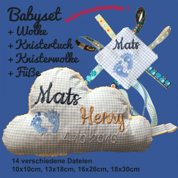 Stickdatei Babyset mit Wolke Füsschen und Knistertuch